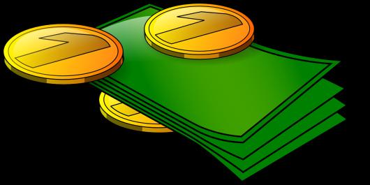 Bankbiljetten en munten - illustratie