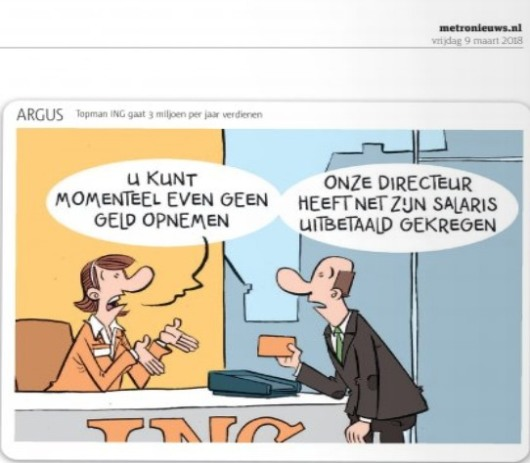 Cartoon Argus in Metro over salaris Hamers ING